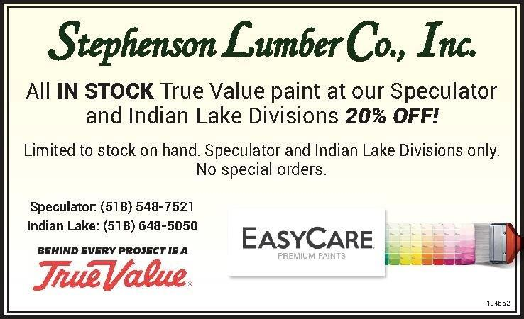 True Value Paint Sale! Speculator & Indian Lake Divisions Only